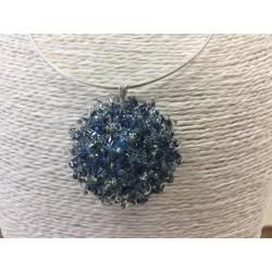 "Flat pendant metal blue ""Collection snowflake"""
