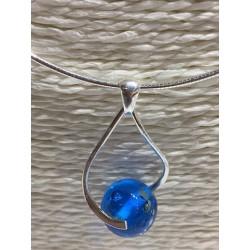 """Pendentif  """"Collection Néo """" bleu métal"""