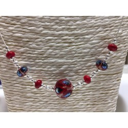 """Collier """"collection Flora"""" rouge"""
