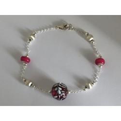 "Bracelet  rose fushia Collection ""Louise"""