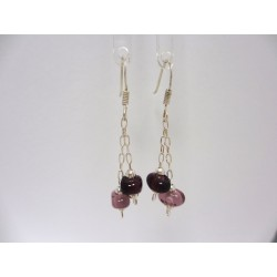 "Boucles d'oreilles violet   collection ""grain de café"""