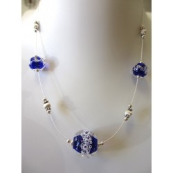 "Necklace navy blue ""Oxygene"" collection"