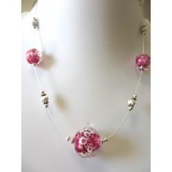 """Necklace fushia dark pink """"Oxygene"""" collection"""