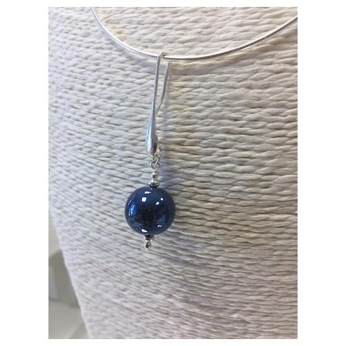 """Pendentif  """"Collection Miroir """" bleu métal"""