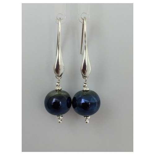 """Earrings """" glass drop collection"""" metal blue"""