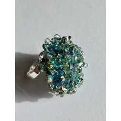 "RIng glass blue green metal ""Snow Flake"" collection"