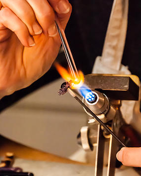 spinning glass with fire
